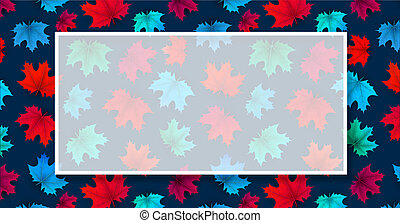 Autumn background with frame and maple leaves pattern.