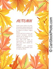Autumn Background with Frame Made of Leaves Vector
