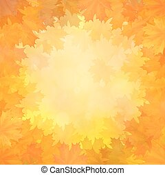 Autumn background with frame of maple leaves