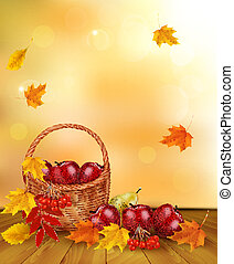 Autumn background with fresh fruit in basket. Healthy Food. Vector illustration