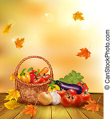Autumn background with fresh vegetables in basket. Healthy Food. Vector illustration