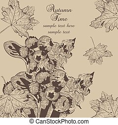 Autumn background with fruits and leaves