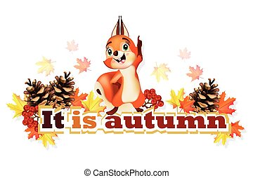 Autumn background with funny squirrel character Vector illustrations