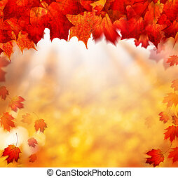Autumn Background with Golden Bokeh and Fall Blowing Maple Leaves