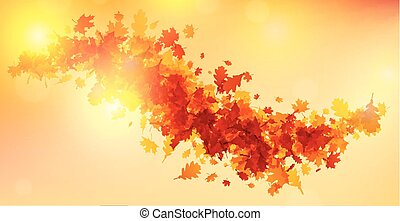 Autumn background with golden leaves.