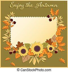 Autumn background with Happy Autumn text with autumn leaves and sunflower.