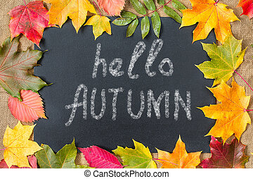 Autumn background with Hello Autumn letters, autumn leaves.