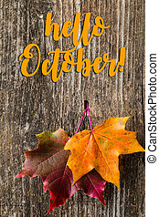 Autumn background with HELLO OCTOBER letters and autumn leaves
