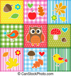 Autumn background with leaves, acorns, birds and owl