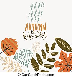 Autumn background with leaves, rain and lettering.