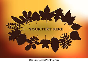 Autumn background with leaves, vector illustration