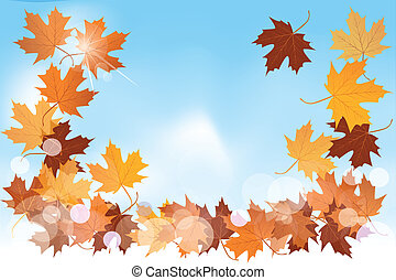 Autumn background with maple leafs