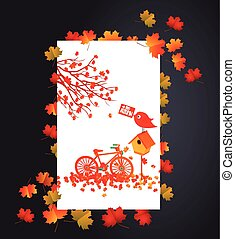 Autumn background with maple leaves card