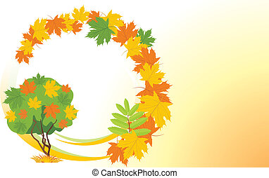Autumn background with maple tree
