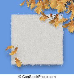 Autumn background with oak leaves