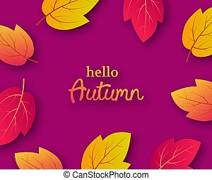 Autumn background with orange leaves