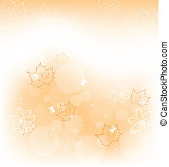 Autumn background with orange maple leaves - Illustration...