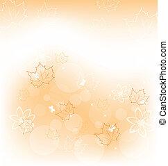 Illustration autumn background with orange maple leaves - vector