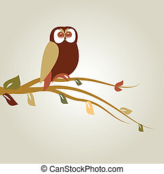 Autumn background with owl on tree branch