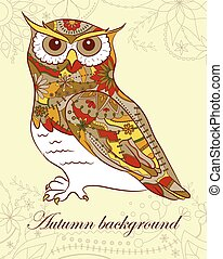 Autumn background with owl