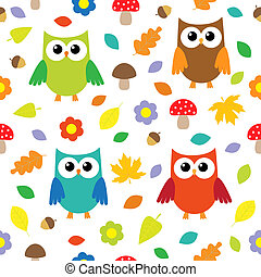 Autumn background with owls. Vector seamless pattern