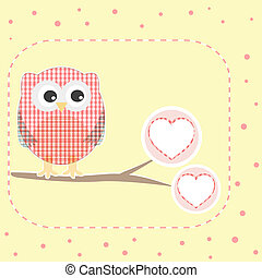 autumn background with owls sitting on branch with heart