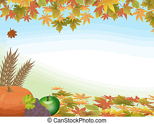 Autumn background with pumpkin, grape, aplle and leaves, vector illustration