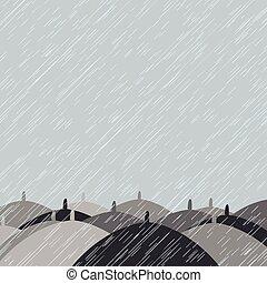 Autumn background with rain and umbrellas