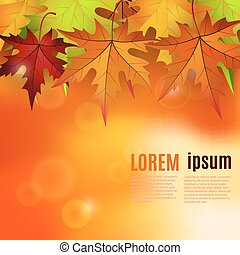 autumn background with red and yellow leaves,