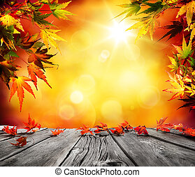 Autumn background with red falling