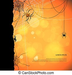Autumn background with spiders and web