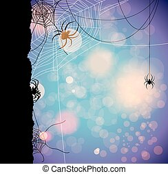 Autumn background with spiders - Fetive autumn background...