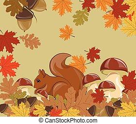Autumn background with squirrel