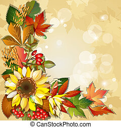 Autumn background with sunflower, rosehip, berry, barley,...
