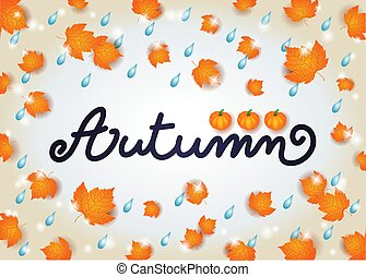 Autumn background with text, leaves and rain