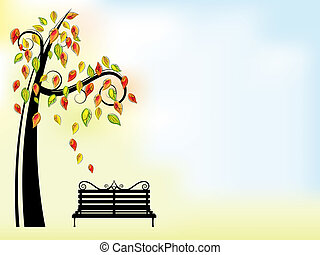 Autumn background with tree and bench