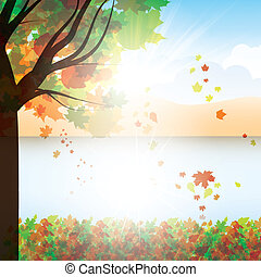 Autumn background with trees and falling leaves