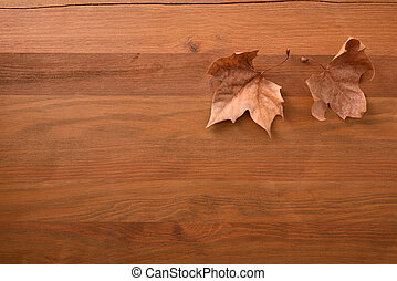 Autumn background with two dry brown leaves on wooden  - ...