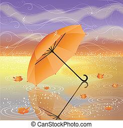Autumn background with umbrella