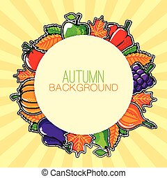 Autumn background with vegetables and fruits.