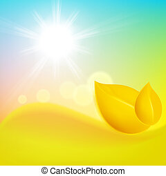Autumn background with yellow leaf and the sun