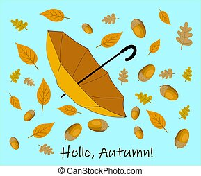 autumn background with yellow leaves and rain umbrella.