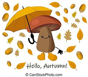 Autumn background with yellow leaves and umbrella from the rain. autumn mushroom.
