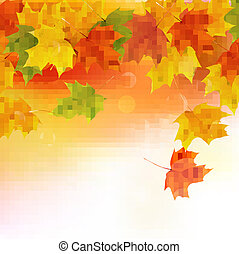 Autumn background with yellow leaves. Back to school. Vector illustration.