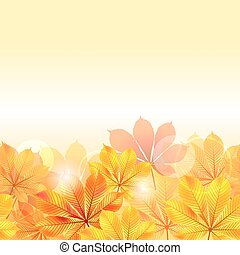 Autumn background with yellow leaves. Vector illustration.