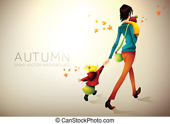 Autumn Background | Woman Waking Hurried With Her Children |...