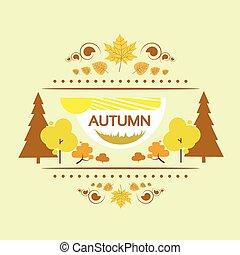 autumn banner flat design yellow tree vector