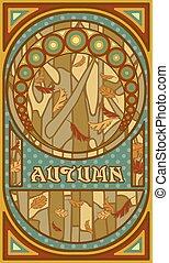 Autumn banner in art nouveau style, vector illustration
