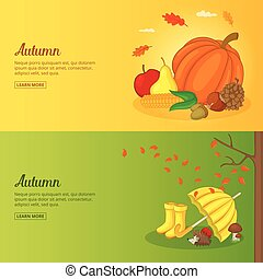 Autumn banner or poster set collection vector illustration
