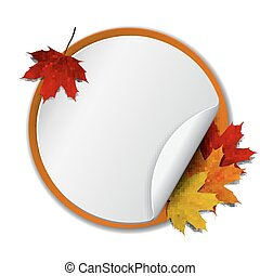 Round banner with autumn leaves